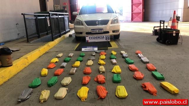 34 kilos de marihuana envueltos en globos y escondidos en automóvil