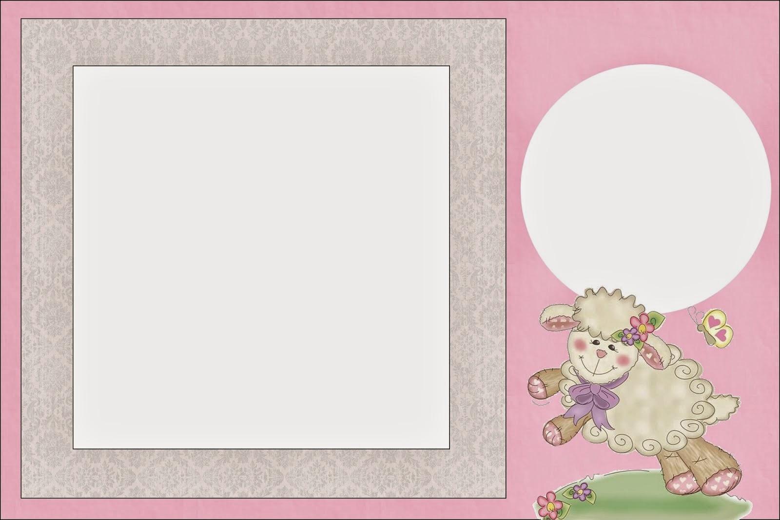 Para hacer invitaciones, tarjetas, marcos de fotos o etiquetas, para imprimir gratis de Ovejita en Fondo Rosa.
