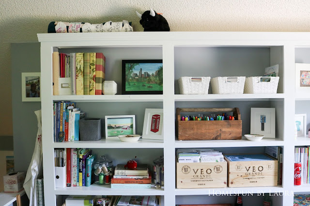 One Room Challenge Week 6 Home Office Sewing Craft Room Transformation built in shelf organization craft storage