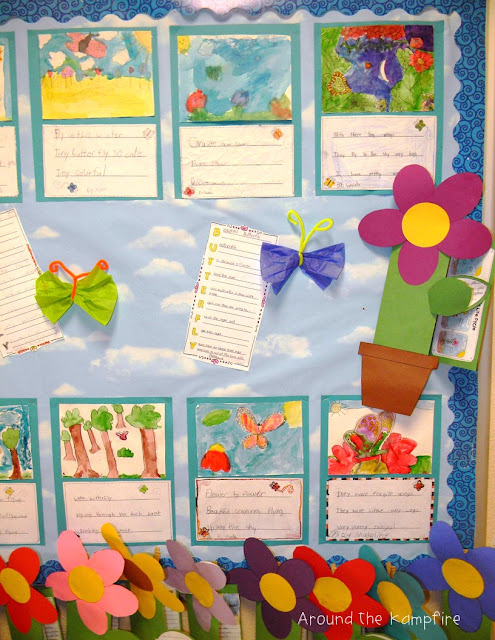 Butterfly haiku poetry with plant life cycle foldable flower booklets bulletin board