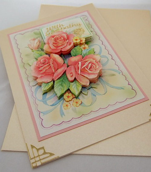 handmade flower card peach rose pink flowers with sympathy