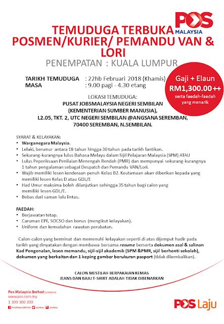 Temuduga Terbuka Pos Malaysia Kuala Lumpur di JobsMalaysia Negeri Sembilan 22 Februari 2018