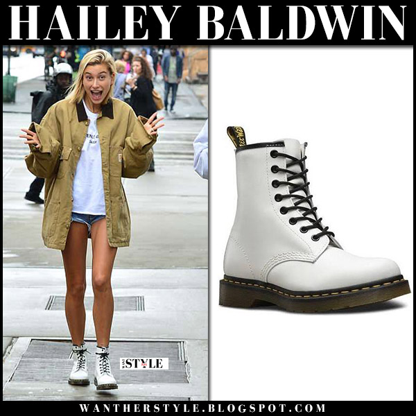 Hailey Baldwin in khaki jacket and white ankle boots dr. martens model style june 13