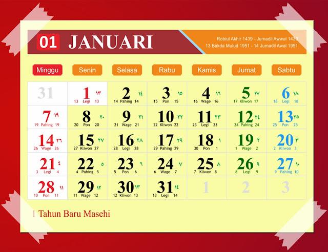 Kalender Januari 2018