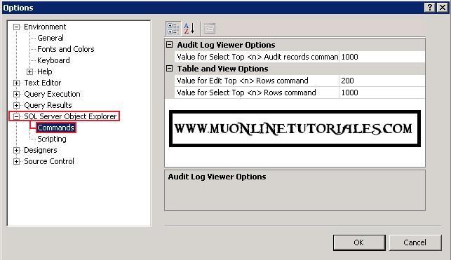 Opcion explorador de objetos de SQL Server