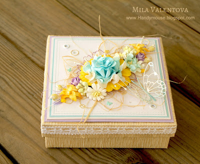Скрапбукинг свадебная коробочка для подвязки невесты. Мила Валентова.