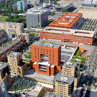 Milan, Bicocca on M5 Metro Line, University of Milano-Bicocca, aerial view of the Piazza della Trivulziana commercial centre there