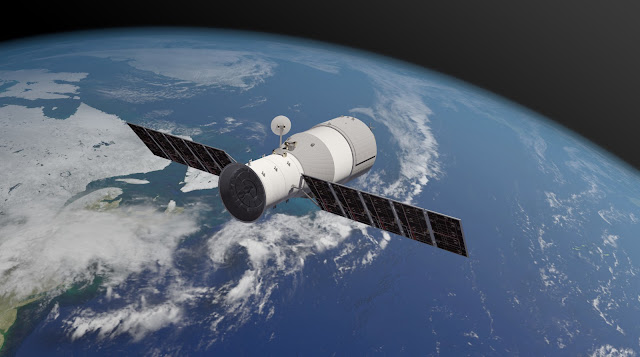 Đồ họa mô phỏng Trạm Không gian Thiên Cung 1 của Trung Quốc đang chuyển động ở quỹ đạo. Hình ảnh: Aerospace Corporation.