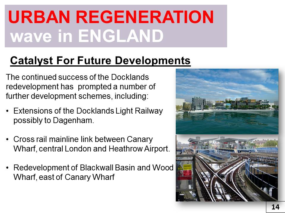 urban regeneration Urban regeneration attempts improve the physical structure and the economy of inner city areas in order to reverse their decline.