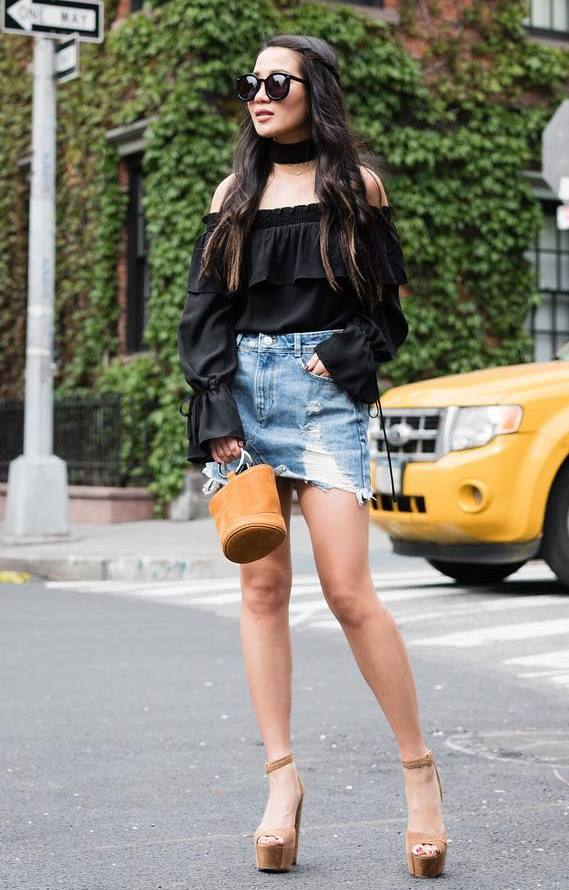 best summer outfit / black chiffon blouse + bag + denim skirt + heels
