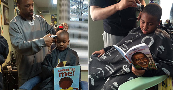 Children getting their haircut while reading at The Fuller Cut barbershop in Ypsilanti, Michigan