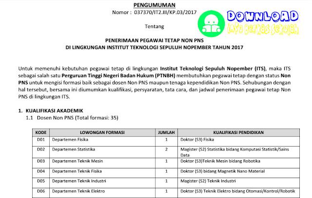 Lowongan Kerja Non PNS di ITS Tahun 2017