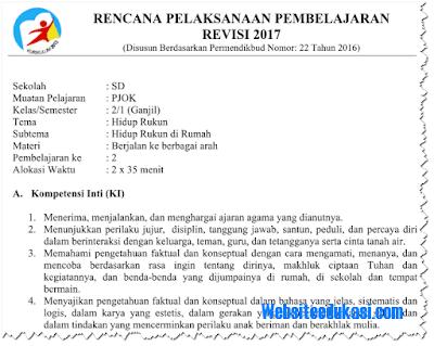 RPP PJOK Kelas 2 SD/MI Semester 1 K13 Revisi 2018 Lengkap