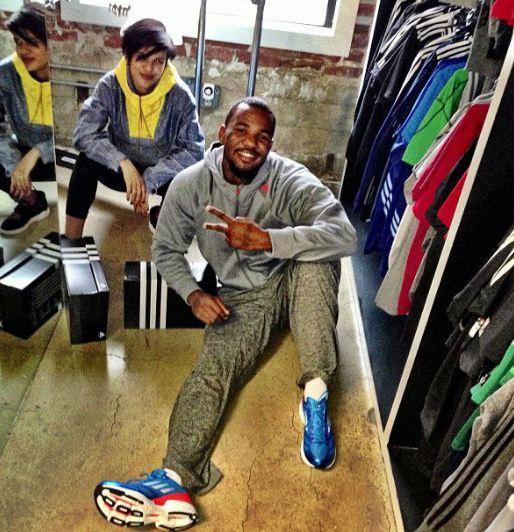 e5be6960c Celeb Sneaker Game  The Game Rocking adidas adizero Feather 2 Sneakers