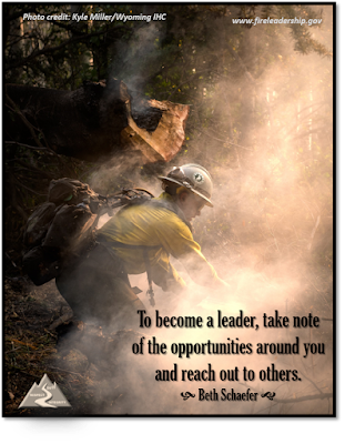 To become a leader, take note of the opportunities around you and reach out to others.  Beth Schaefer