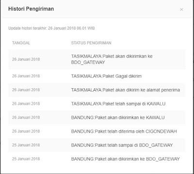 Histori pengiriman dari Bukalapak