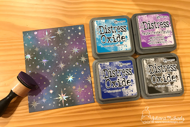 Galaxy Stencil Foiled Background Tutorial by Juliana Michaels featuring Therm O Web Deco Foil, Therm O Web Transfer Gel, Newton's Nook Designs Stencils and Ranger Ink Distress Oxide