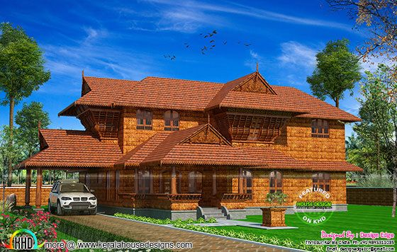 True Kerala traditional house with laterite stone