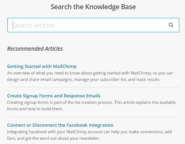 Knowledge base by MailChimp