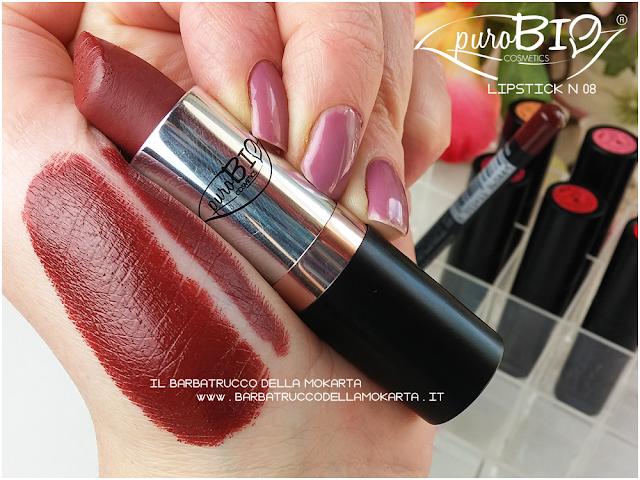 swatches, matita n 41 , lipstick n 08 ,  rossetti purobio , lipstick, vegan makeup, bio makeup