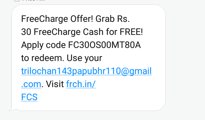 proof) FreeCharge 30 rupees freefund code offer for free