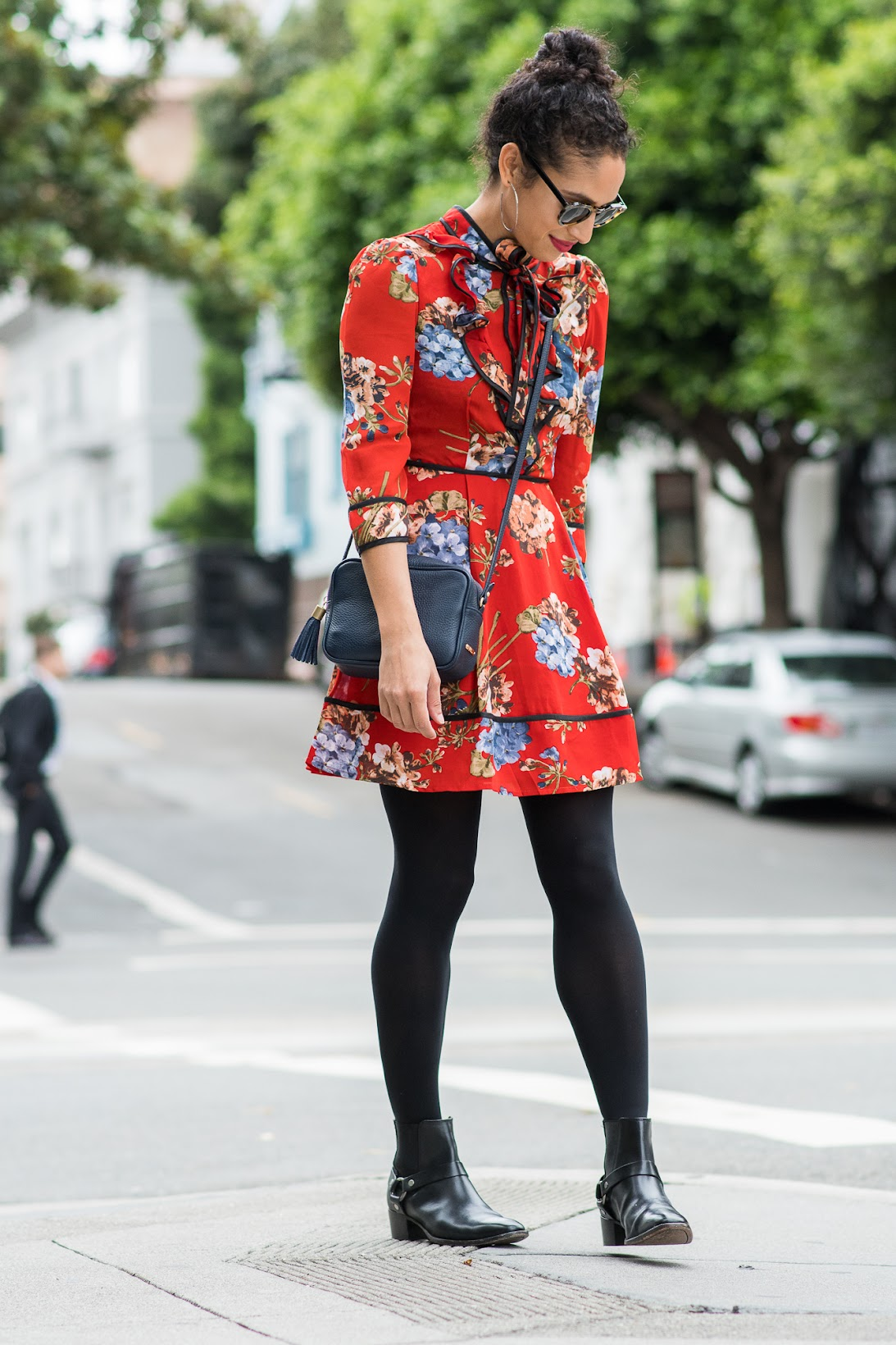 re:named dress, shopbop re:named dress, red floral dress, how to wear tights during the fall, fall style, Frye boots, Frye harness boots, red lips with red lipstick