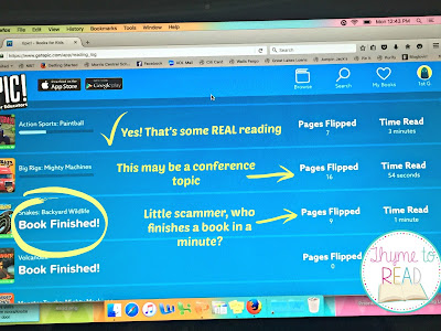 Use EPIC app to increase student reading engagement and increase student accountability