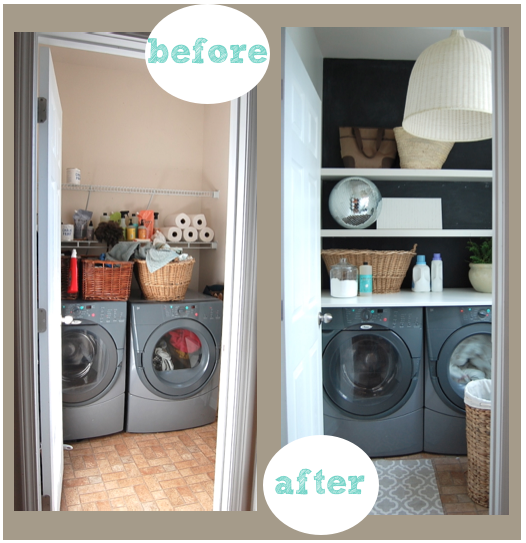 update your laundry space with shelves and paint
