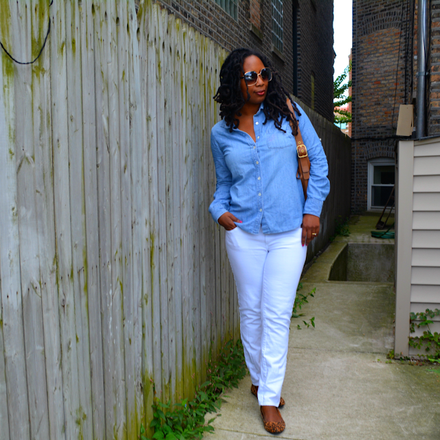 denim shirt worn with white jeans