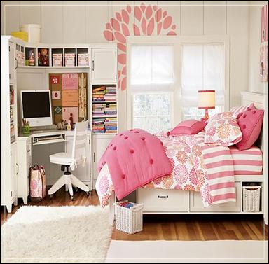 60 desain interior kamar tidur warna pink untuk perempuan for Older girls bedroom designs