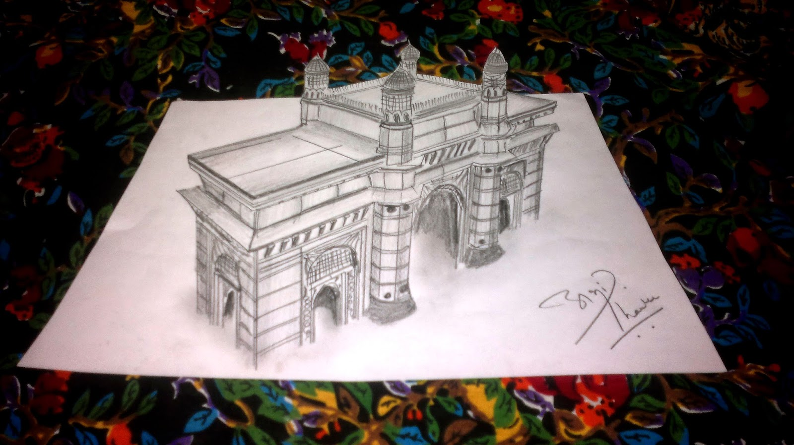 3D Sketch of Gateway of India by Abhishek Thamke