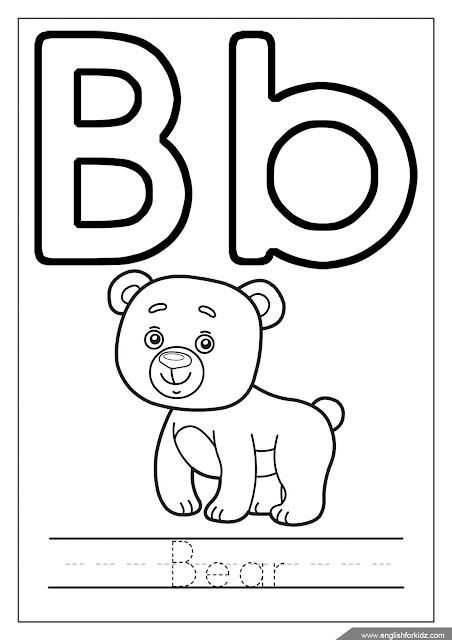 Alphabet coloring page, letter b coloring, b is for bear