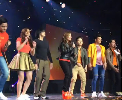 TNT's guests and hosts (L-R: Alden Richards, Maine Mendoza, Robin Padilla, Nicole Hyala, Jason Dy, Zeus Collins and Chris Tsuper)