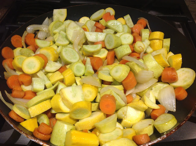 cut up summer vegetables in skillet