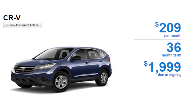 Honda CR-V Offer 2014 CR-V 5 Speed Automatic 2WD LX Featured Special Lease
