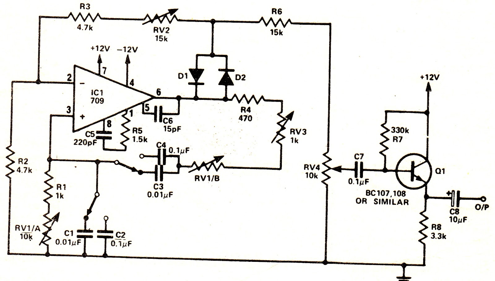 simple sine wave oscillator schematic