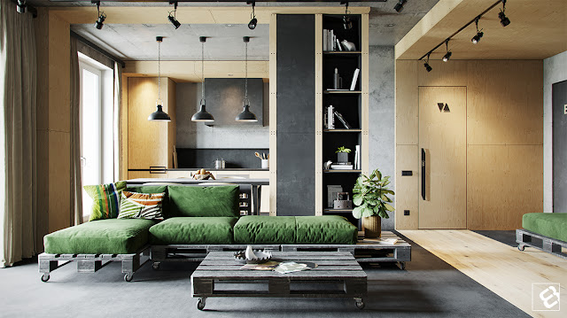 This many-textured apartment keeps it simple by using only brown, grey, black and green in its colour palette.