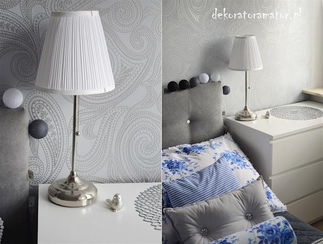 szara sypialnia, sypialnia ikea, sypialnia glamour, bedroom, sypialnia shabby chic