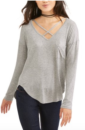 Walmart  No Boundaries Juniors' Criss-Cross Neck Long Sleeve Pocket Tee
