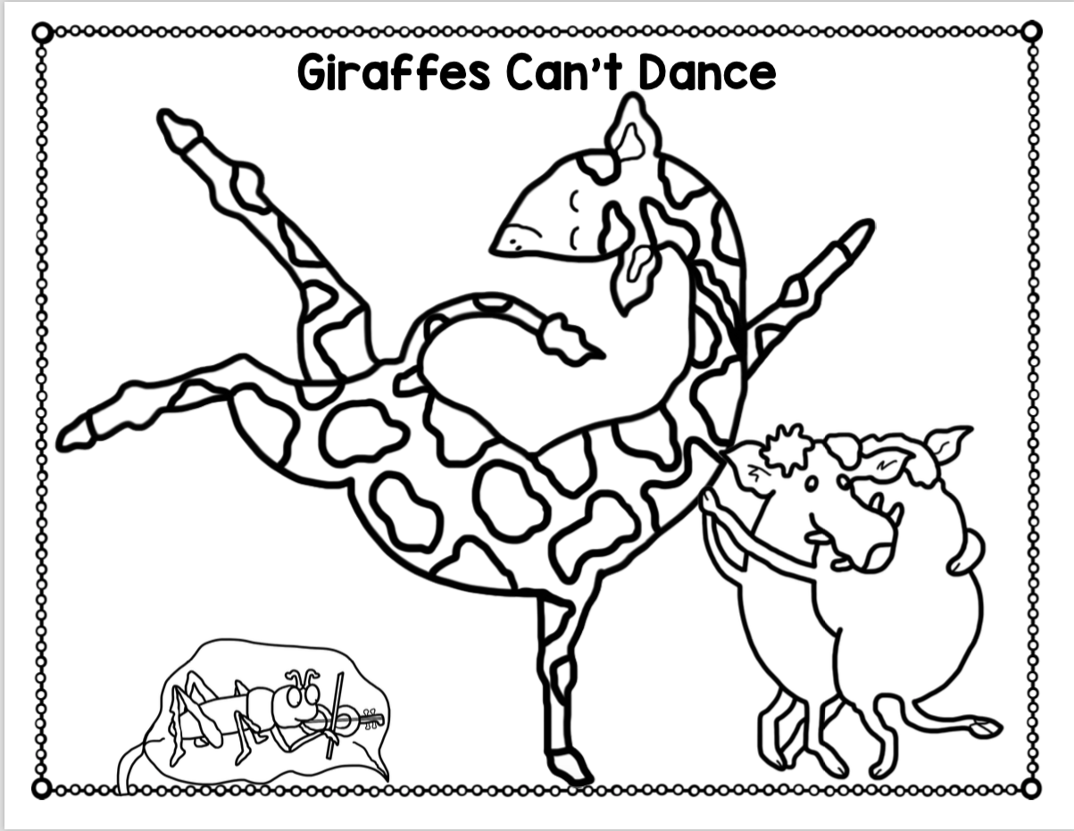 GIRAFFES CAN'T DANCE COLORING PAGES ~ Book Units by Lynn