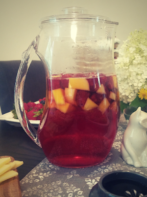 A Summer Solstice Dinner Party 2018: Nonalcoholic Raspberry Mango Sangria