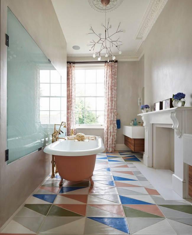 renkli banyo zemin fayansı