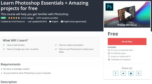 [100% Free] Learn Photoshop Essentials + Amazing projects for free
