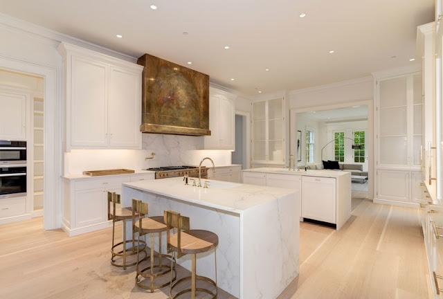 Washington DC luxury mansion Kalorama kitchen marble islands brass hood  regency style limestone