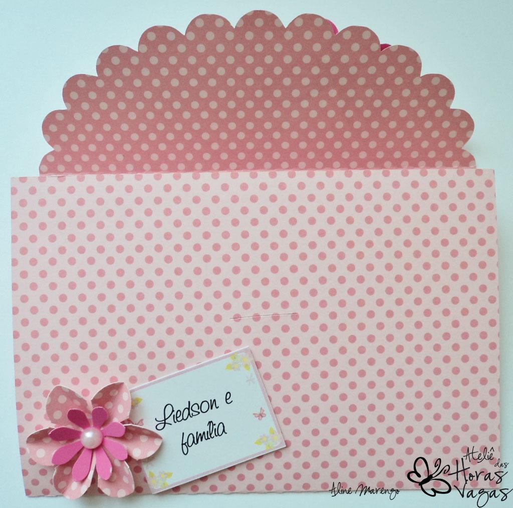 convite artesanal envelope jardim encantado poá rosa pink aniversário 1 aninho