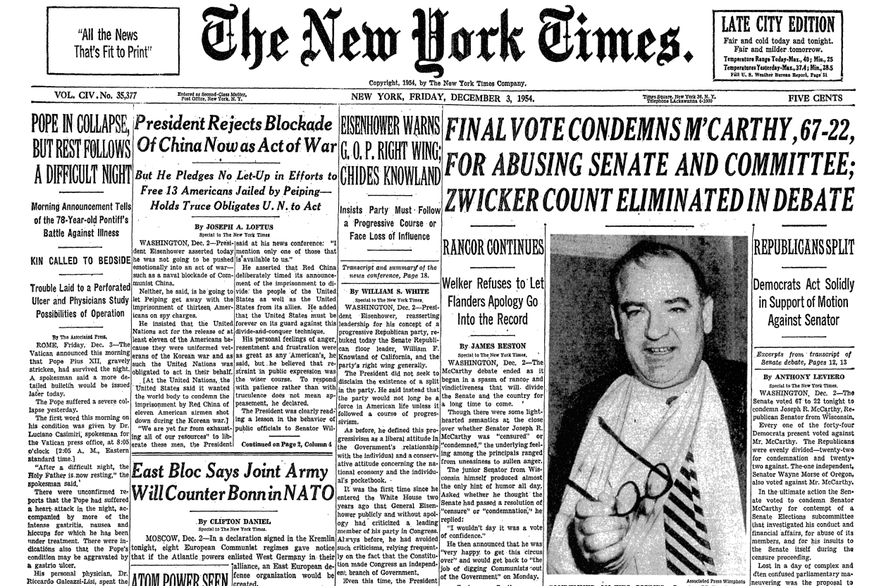 an introduction to the aggresive strategy of lies by senator joseph r mccarthy Preserving senatorial traditions: the censure of senator joseph r mccarthy i do not like the way the senate has been made a rendezvous for vilification after republicans took control of the white house and congress in 1953, mccarthy was named chairman of the committee on government.
