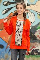 Bluza dama portocalie scurta casual cu croi larg cu maneci lungi