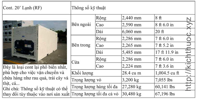 kich thuoc container lanh 20 feet