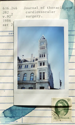 Dada Fluxus library card mail art instax polaroid Louisville Union station Australian postage stamp collage