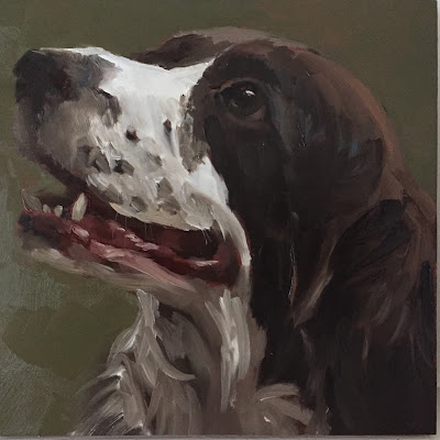 dog portrait in oil on panel 15x15 cm by animal painter Philine van der Vegte